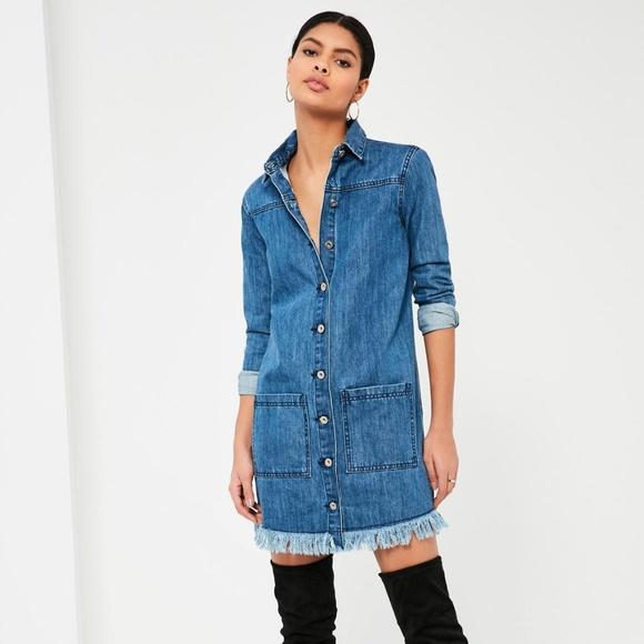 a28d737be94 NWT Missguided - blue frayed hem denim shirt dress